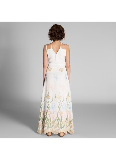 Dantel Detaylı Askılı Uzun Elbise-Vekem